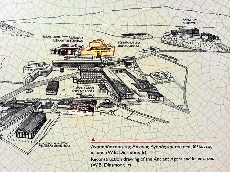 Mapa que representa la antigua Atenas