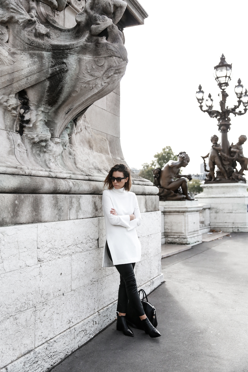 monochrome street style, outfit, inspo, Ellery, Super Creep tunic top, Bassike leather pants, Acne Jensen ankle boots, Givenchy Antigona medium, Céline ombre sunglasses, fashion blog, modern legacy (3 of 13)