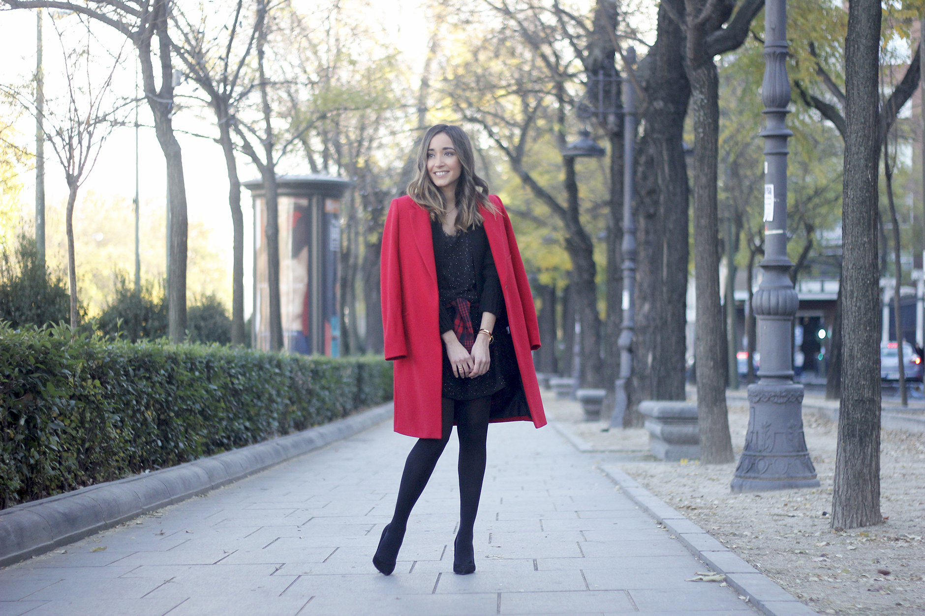Red Coat With Party Black Dress Mango Outfit Style 06