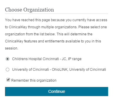 Clinical Key choose org