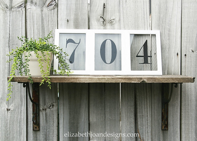 Picture Frame House Numbers Hanging Shelf