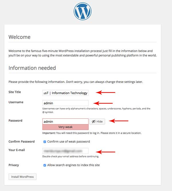 screen-of-setup-account-and-website-information-of-wordpress-install-iplust