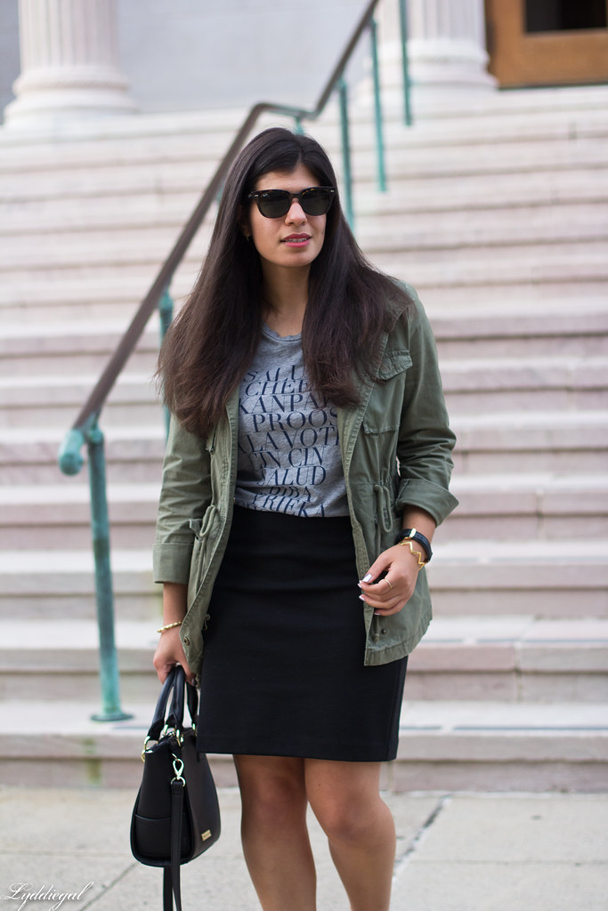 field jacket, black pencil skirt, cheers tee-2.jpg