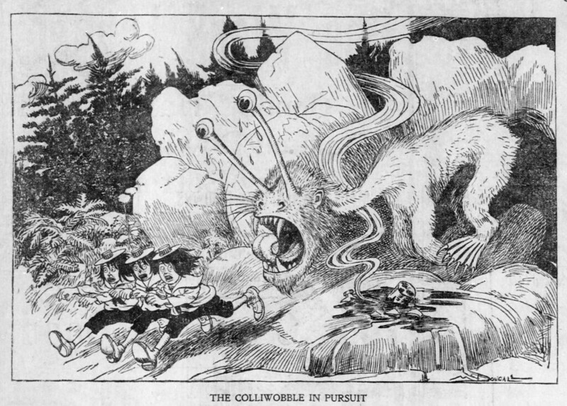 Walt McDougall - The Salt Lake herald., May 04, 1902, The Colliwobble In Pursuit
