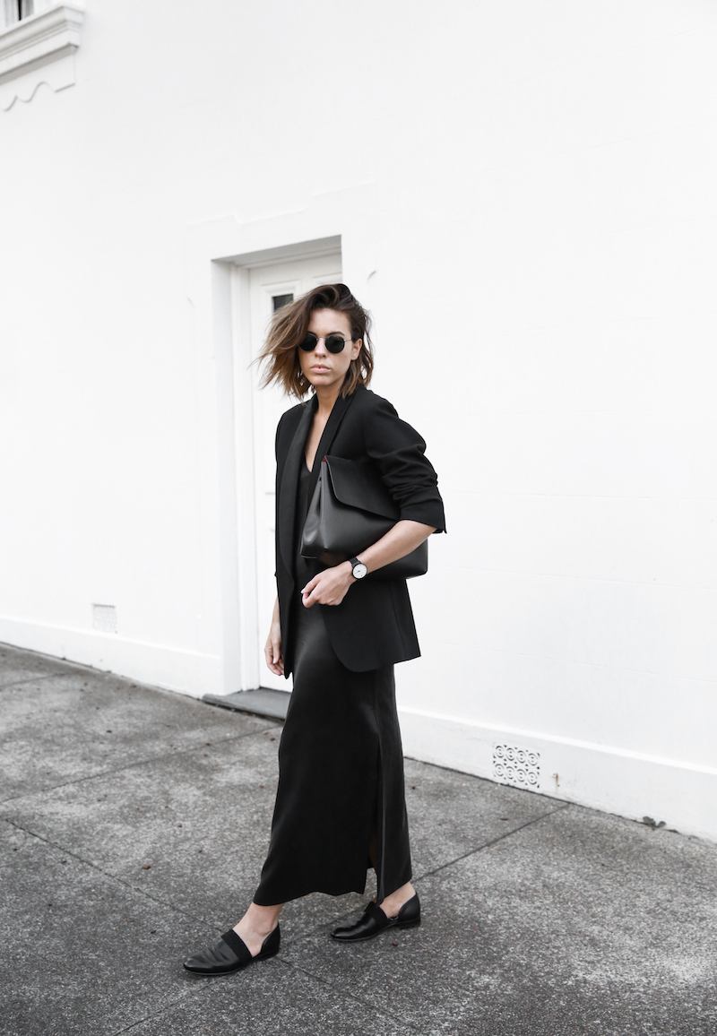 slip dress, street style, silk, black, Mansur Gavriel bag, boyfriend blazer, cut out loafers, round sunglasses, modern legacy, fashion blogger