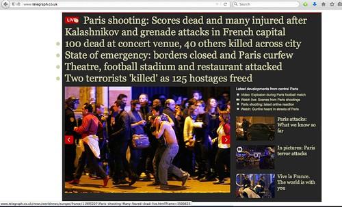 screen capture of Telegraph's headlines on Paris shooting