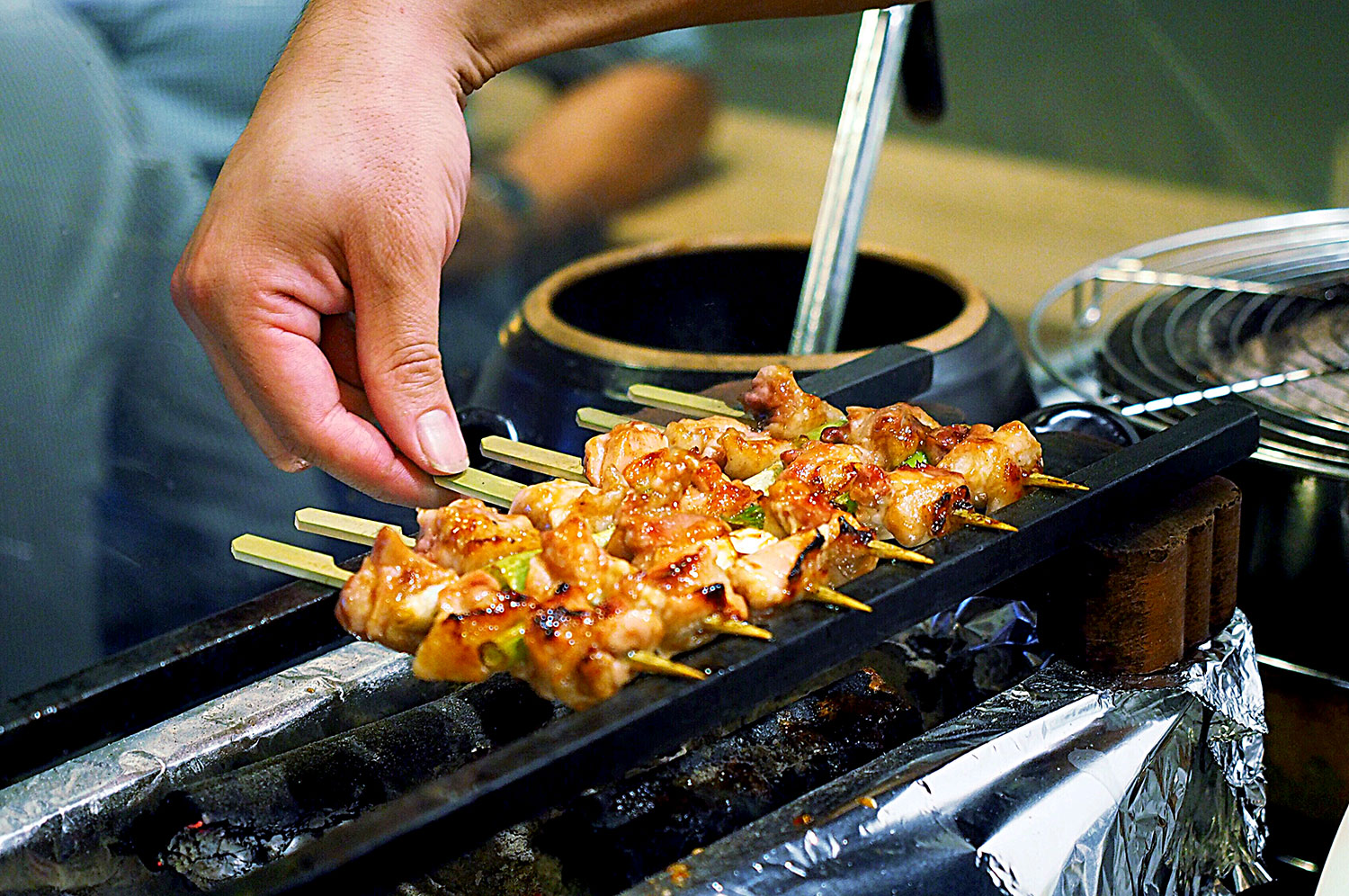 Skewers getting barbecued, Yurippi, Crows Nest: Sydney Food Blog Review
