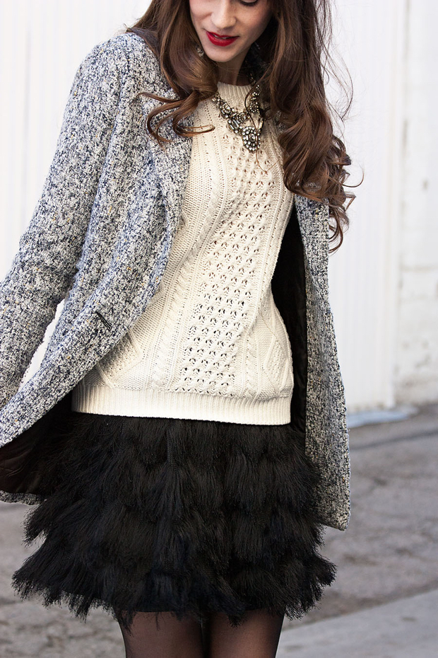 Black Feather Skirt, Gap Sweater, Holiday Outfit