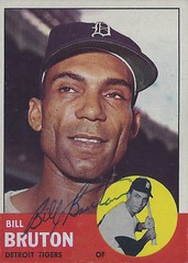 "1963 Topps - Bill ""Billy"" Bruton #437 (Outfielder) (b. 9 Nov 1925 - d. 5 Dec 1995 at age 70) - Autographed Baseball Card (Detroit Tigers)"