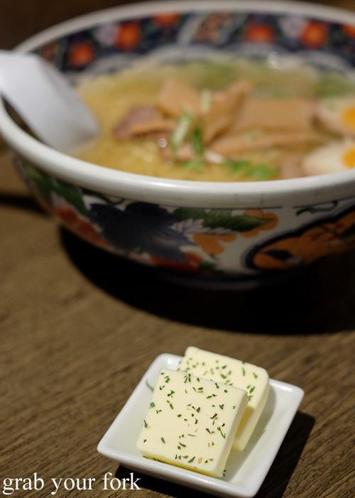 Hokkaido butter at Ajisai ramen stall at Sapporo Ramen Kyowakoku or Sapporo Ramen Alley, Hokkaido