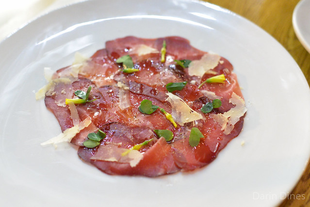 House Cured Bresaola. wood sorel. franzedaz. black pepper. lemon juice.