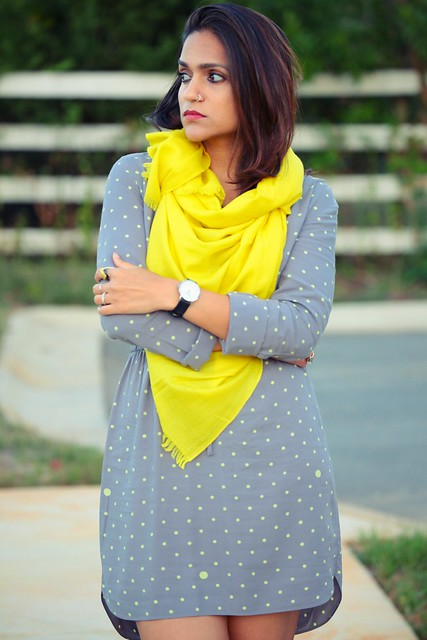Shirtdress - GAP Scarf - From Ladakh, India Watch - Daniel Wellington  Boots - Famous Footwear Tanvii.com