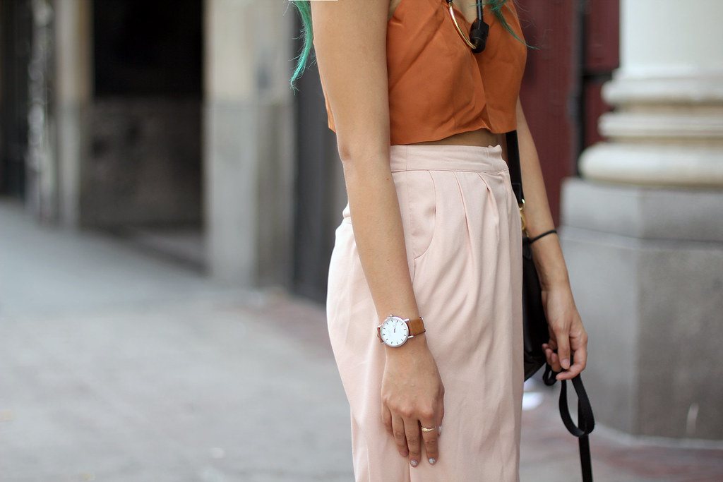 Reformation Silk top, Moorea Seal necklace, Shore Projects Watch, Nasty Gal Culottes, Dieppa Restrepo loafers, Danielle Nicole bag