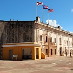 Image of Castillo San Cristóbal near San Juan. old blue sky castle town san juan fort outdoor district flag sunny landmark historic pr caribbean cristobal castillo sju benteng konomark