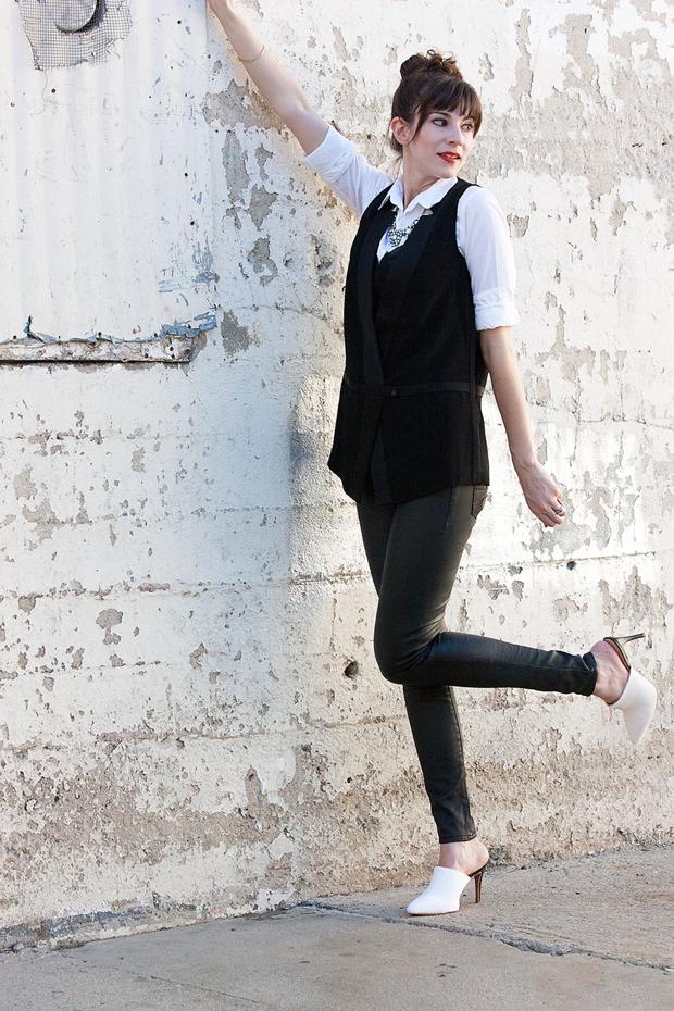 Black and White Mules, Black Tuxedo Vest, Black Jeans