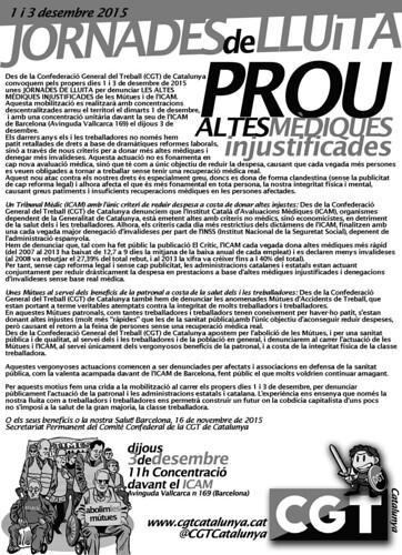 Comunicat CGT Catalunya de les Jornades de lluita de les altes mèdiques injustificades