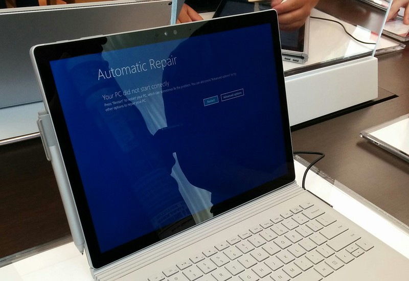 Broken down laptop in the Microsoft Store, Sydney