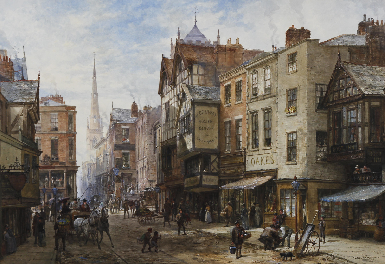 The Cross looking towards Watergate Street, Chester by Louise Rayner