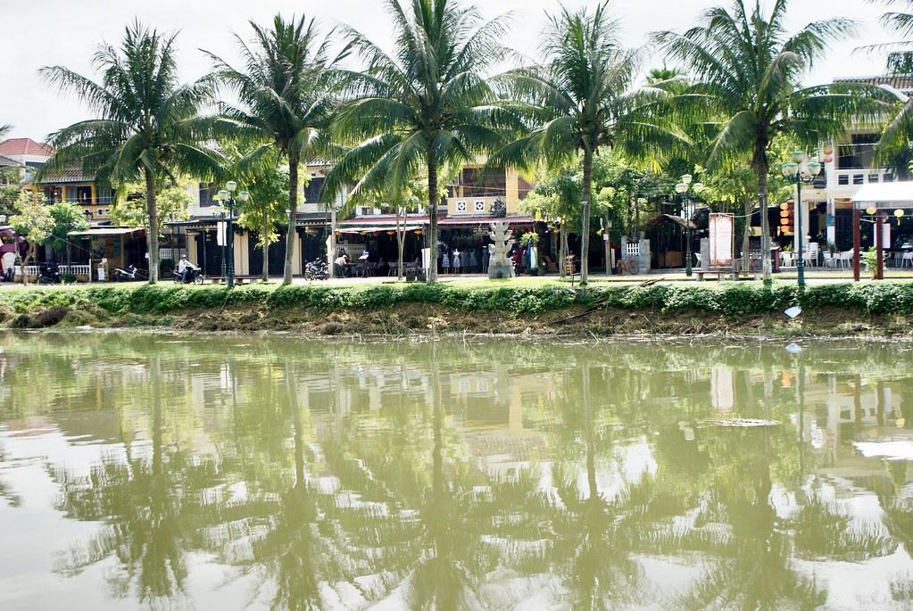 Ambiance tropicale avec des palmiers alignés de le longe de la rivière à Hoi An au Vietnam.