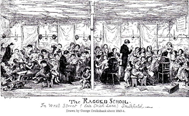 Cruikshank represents a ragged school at the Saffron Hill slum in London, which Charles Dickens visited on behalf of philanthropist Angela Burdett Coutts in 1843. This visit undoubtedly shaped his conception of Ignorance and Want — and the importance of elementary education as an antidote to poverty — in A Christmas Carol). (Philip V. Allingham)