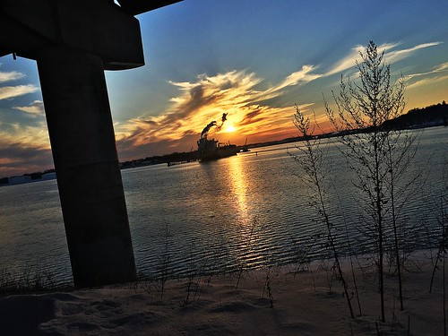 thomasknightpark southportland maine cascobaybridge winter snow sunset port portland