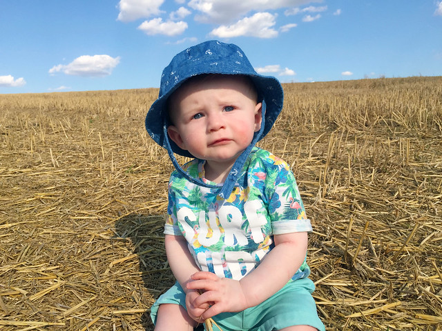 Zach in the straw field