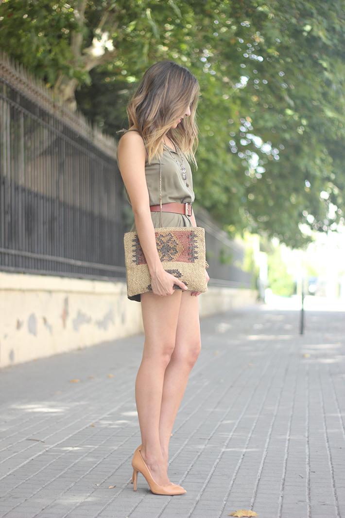 Khaki Jumpsuit Hat Clutch Summer Outfit 04