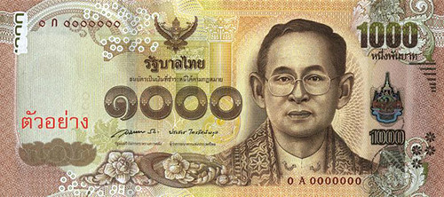 Thailand 1000 bhat note face