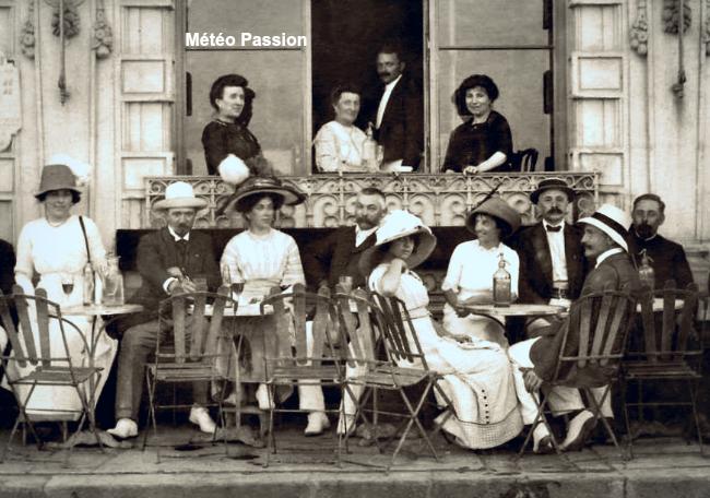 bourgeoisie en terrasse durant les chaleurs de l'été 1911 météopassion