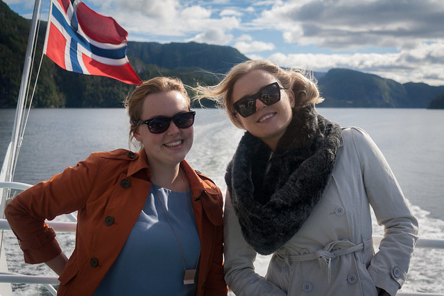 Georgina and Kristina on the fjords cruise, Bergen