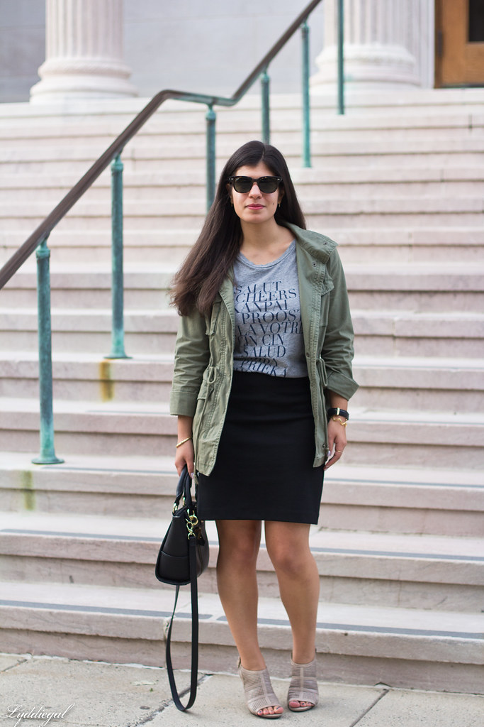 field jacket, black pencil skirt, cheers tee.jpg