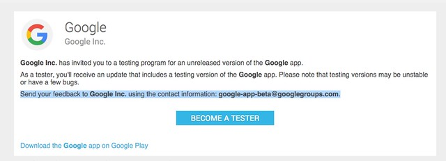 Google app beta testing