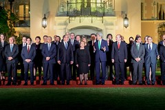 U.S. Secretary of State John Kerry poses with Chilean President Michelle Bachelet, Prince Albert II of Monaco, and other leaders on October 5, 2015, before a dinner at Cerro Castillo in Valparaiso, Chile, at the end of the first day of the Our Ocean Conference 2015. [State Department photo/ Public Domain]