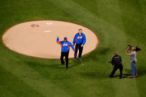 Ed Charles and Ron Swoboda First Pitch