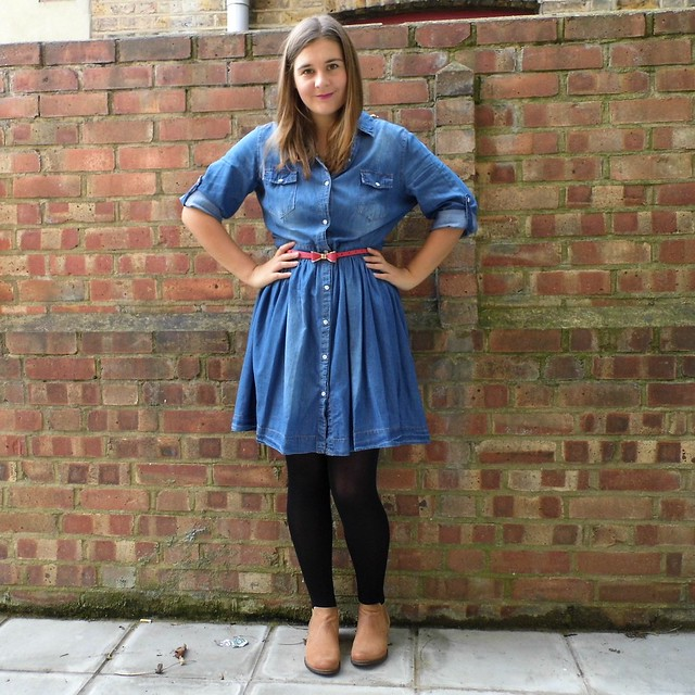 Denim Dress & Tan Ankle Boots