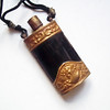 Vintage Asian Snuff Bottle - Black Cattle Bone and Repousse Brass