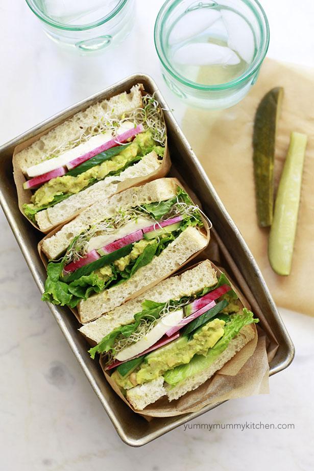 smashed chickpea avocado sandwich