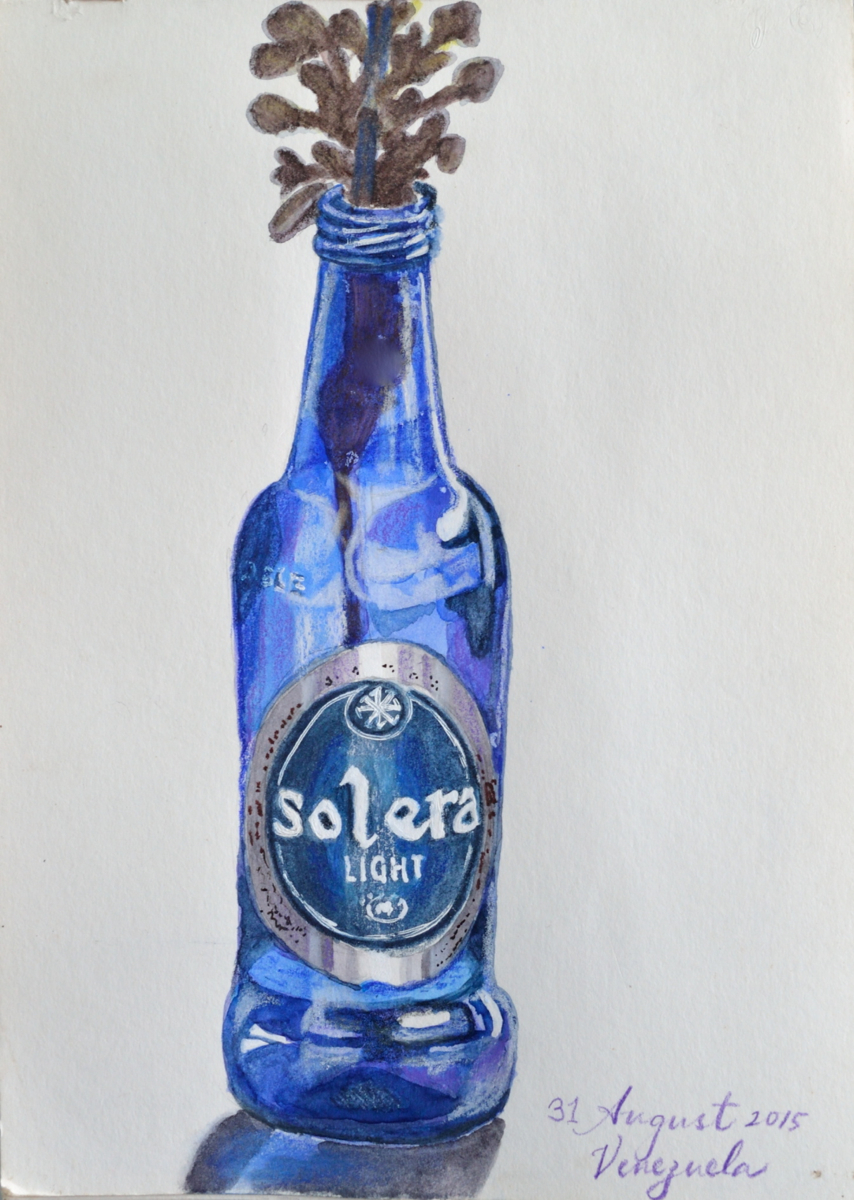 blue beer bottle