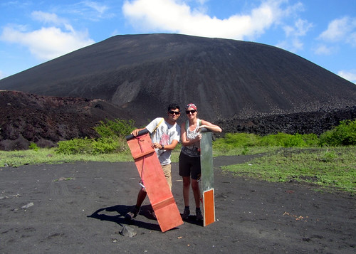 Hiking the volcano with our equipment