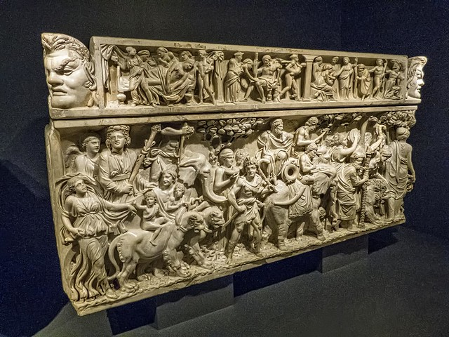 indian triumph of dionysus The sarcophagus with the triumph of dionysus is a sculpture with the medium of thasian marble the measurements of the sculpture are, including the lid, 47 1/2 x w: 92 1/2 x d: 40 in (1207 x 2349 x 1016 cm) archaic definition: style of art that originated in ancient greece, characterizing human interaction depicting a narrative.
