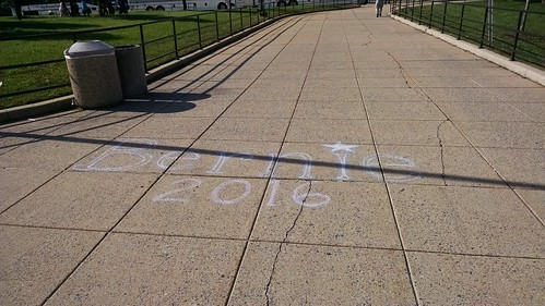 Bernie Sanders Chalk Writing Event