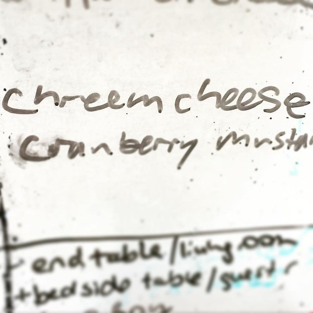 "This is how my husband spelled ""cream cheese"" this morning. How concerned should I be?"
