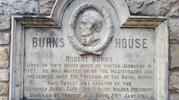 Photo of Robert Burns stone plaque