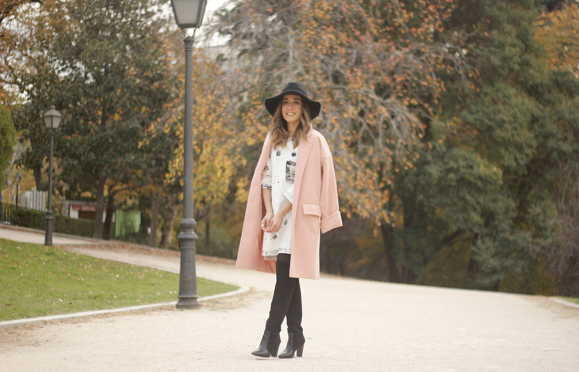 Black and White Dress Pink Coat Black Hat outfit style over the knees boots03