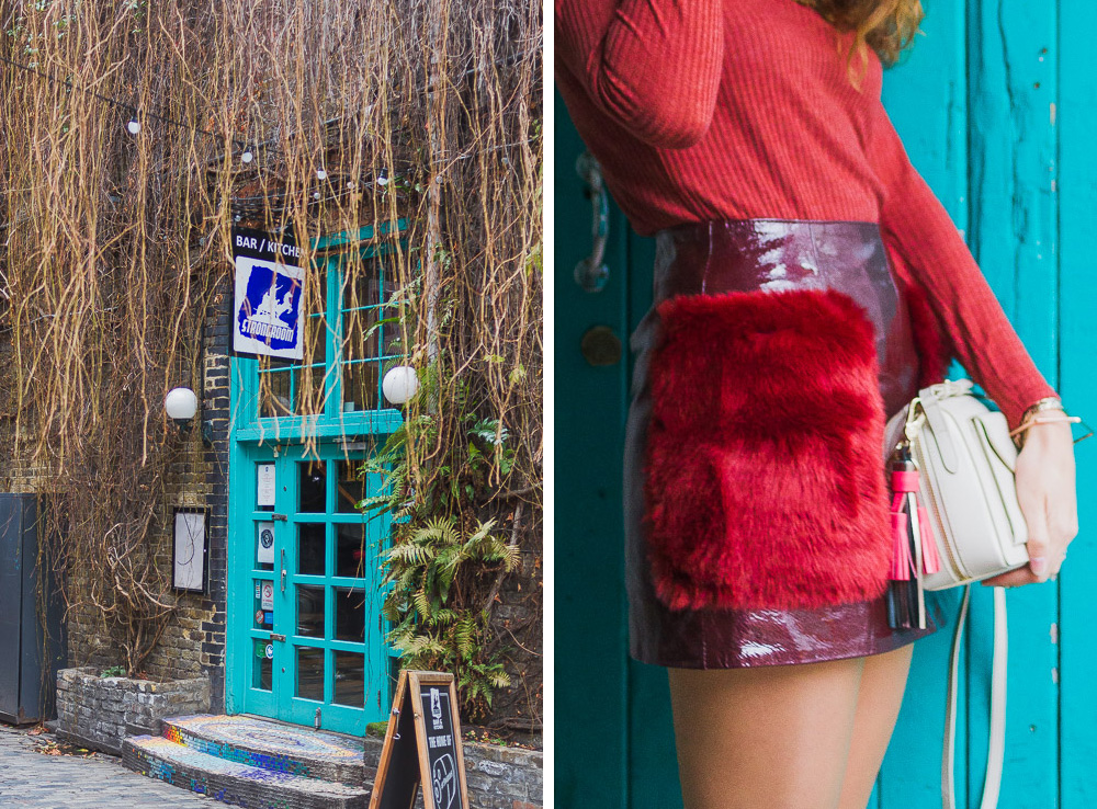 roll neck patent mini skirt outfit winter rich red colours