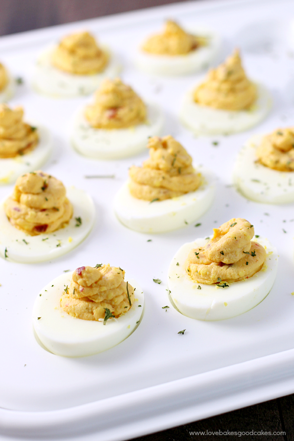 Chipotle Deviled Eggs in an egg tray.