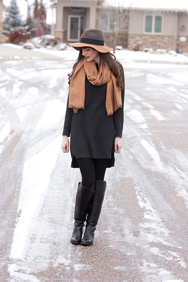 Grey Sweater Tunic, ShoeMint Boots, Camel Scarf, Anthropologie Hat, Neutral Winter Outfit