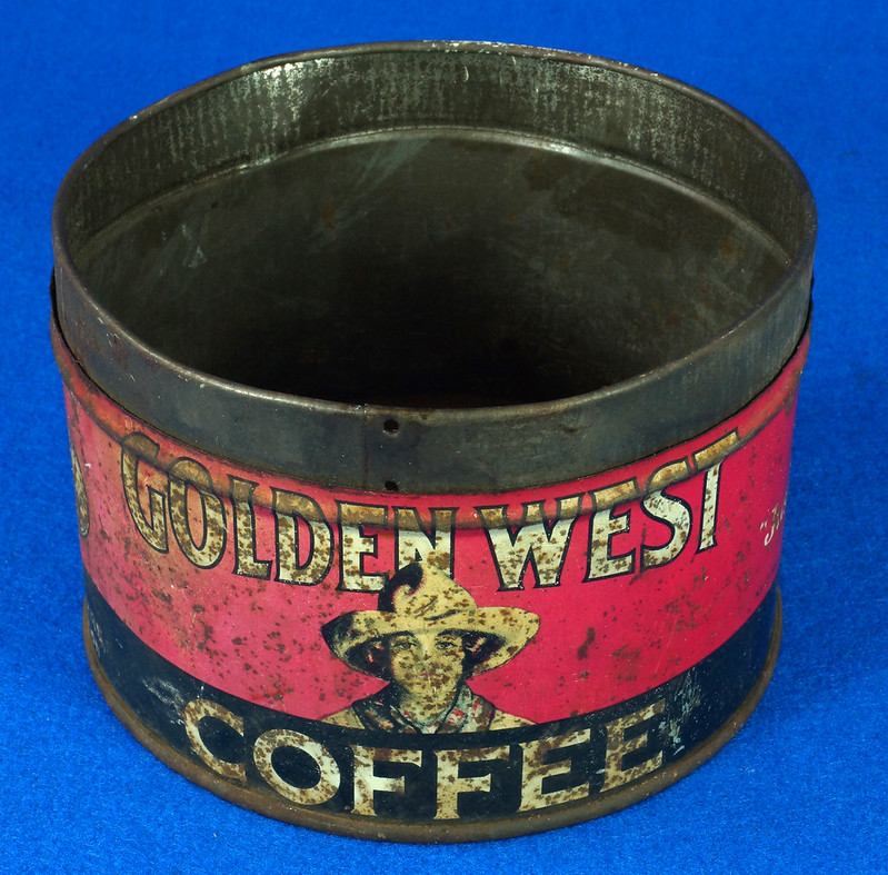 RD15323 Vintage 1927 Golden West Coffee Can Tin 1 lb. Cowgirl DSC09103