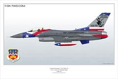 F-16C Block 30 du 149th FW, Texas ANG. 65 ans de l'unité.
