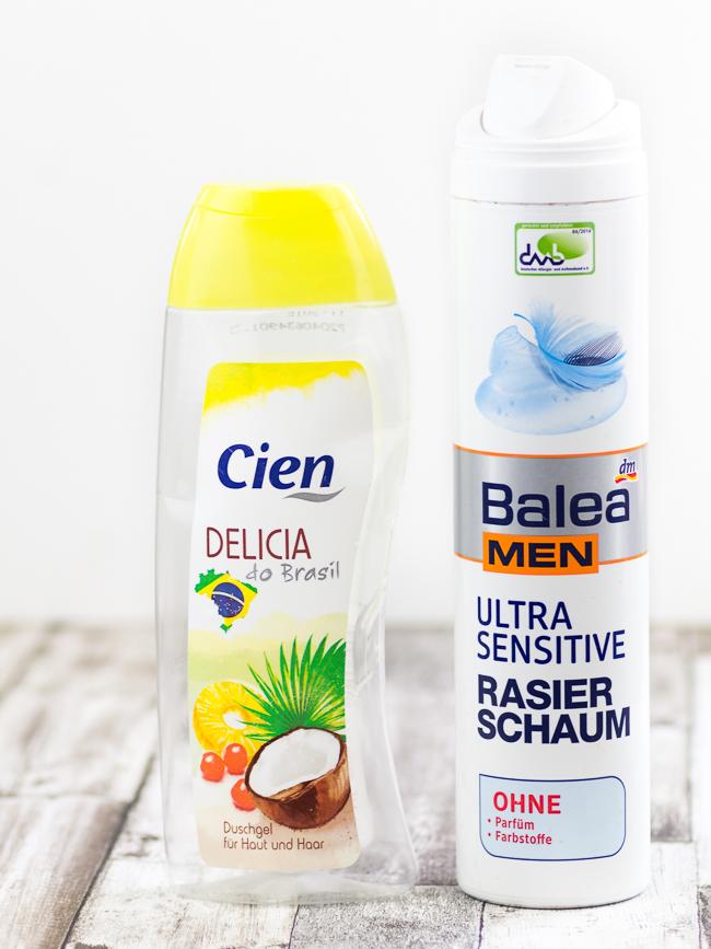 Aufgebraucht Post, Aufgebraucht Juni, Balea Men Ultra Sensitive Rasierschaum, Cien Duschgel Delicia do Brasil